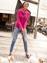 Flounce-Sleeve Cowlneck Sweater
