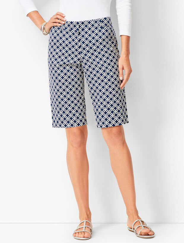 Perfect Shorts - Bermuda Length - Geo Tile Print