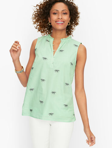 Cotton Split Neck Shell - Zebra
