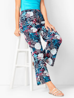 Crinkle Cotton Beach Pants - Aquatic Print
