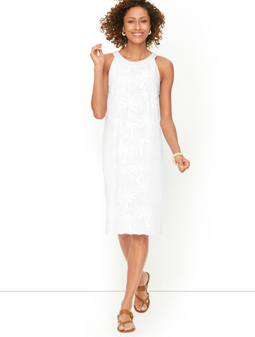 Embroidered Palm Tree Shift Dress