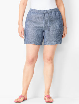 2db558f8cb Drawstring Washed-Linen Shorts - Cross-Dyed