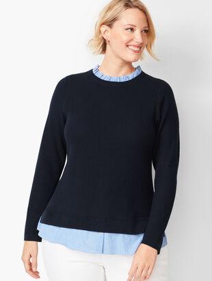 Woven-Hem Sweater