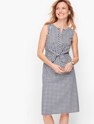 Gingham Tie Front A-Line Dress