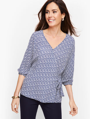 Side Tie Faux Wrap Top