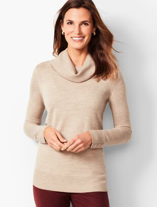 Merino Button-Cuff Cowlneck Sweater - Gold Shimmer