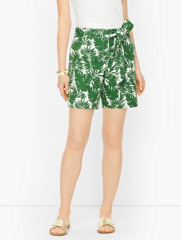 Palm Leaf Tie Waist Shorts
