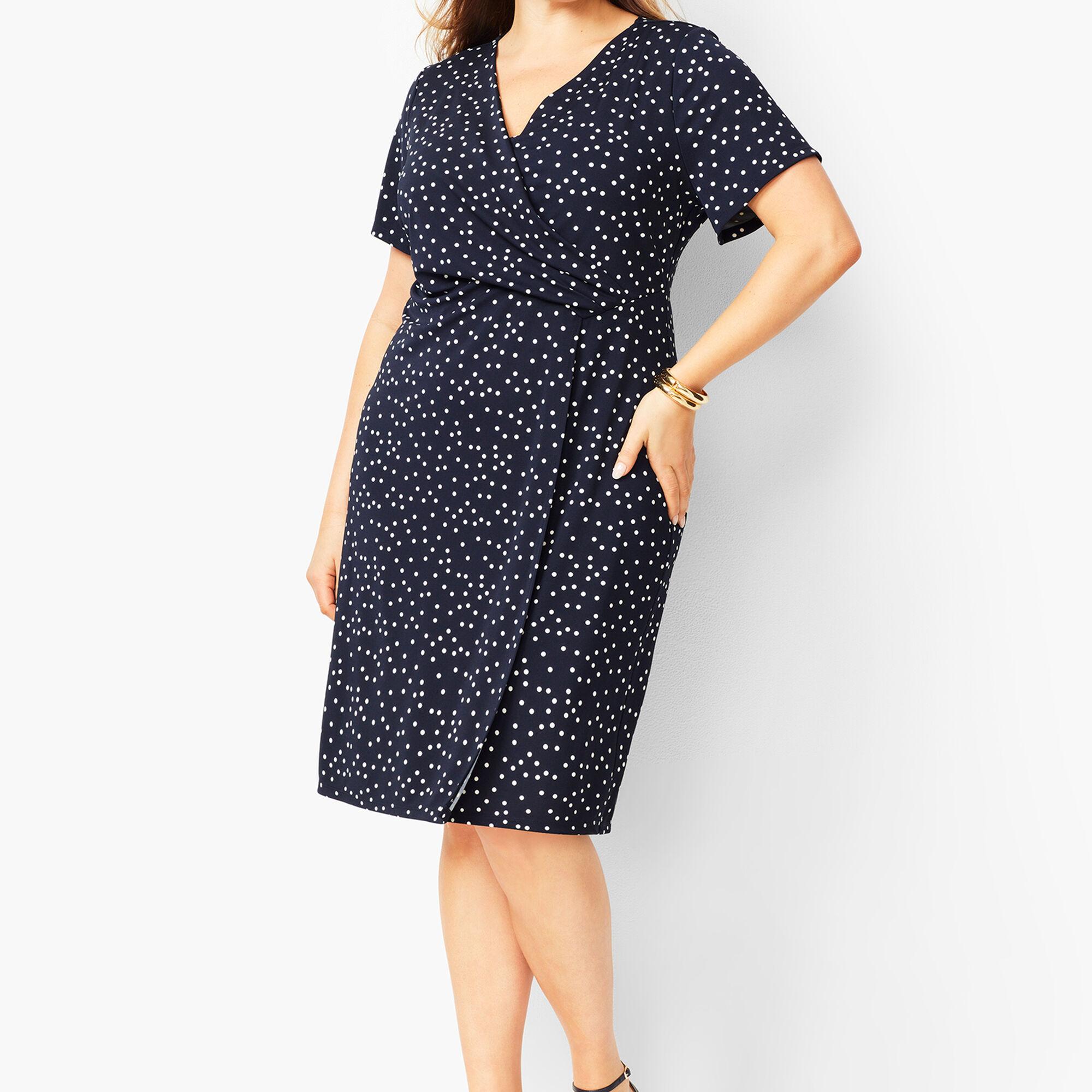 Plus Size Knit Jersey Faux-Wrap Dress - Dot Print | Talbots