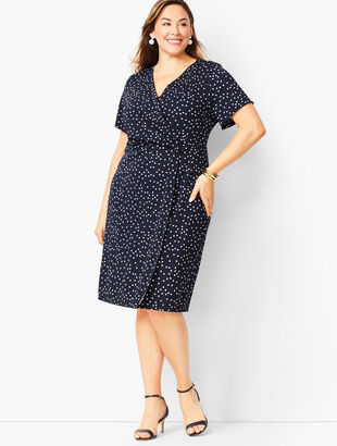 Plus Size Knit Jersey Faux-Wrap Dress - Dot Print