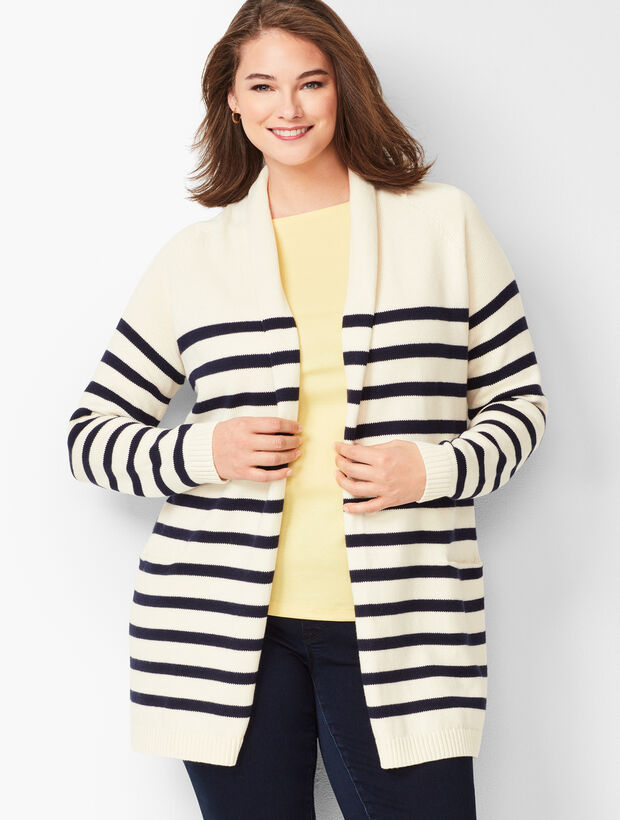 Stripe Shawl-Collar Duster
