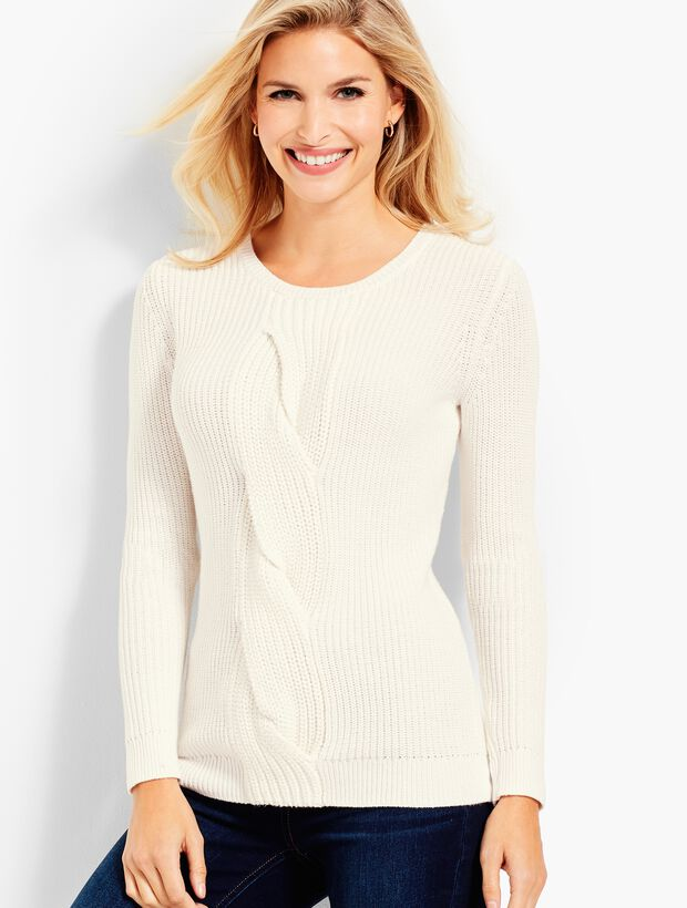 Cable Twist Sweater-Ivory