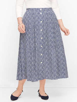 Tiered Button Front Skirt - Floral Vine Print
