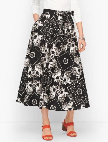Allover Bandana Cotton Midi Skirt
