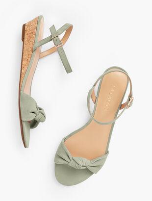 Capri Knot Mini Wedge Sandals - Suede