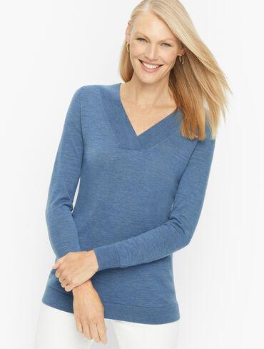 Merino Wool Overlapped V-Neck Pullover