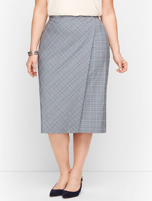 Springtime Plaid Pencil Faux Wrap Skirt
