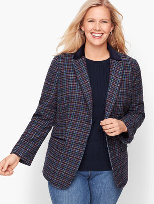 Mistletoe Plaid Shetland Wool Blazer