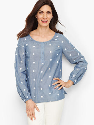 Embroidered Daisy Chambray Popover