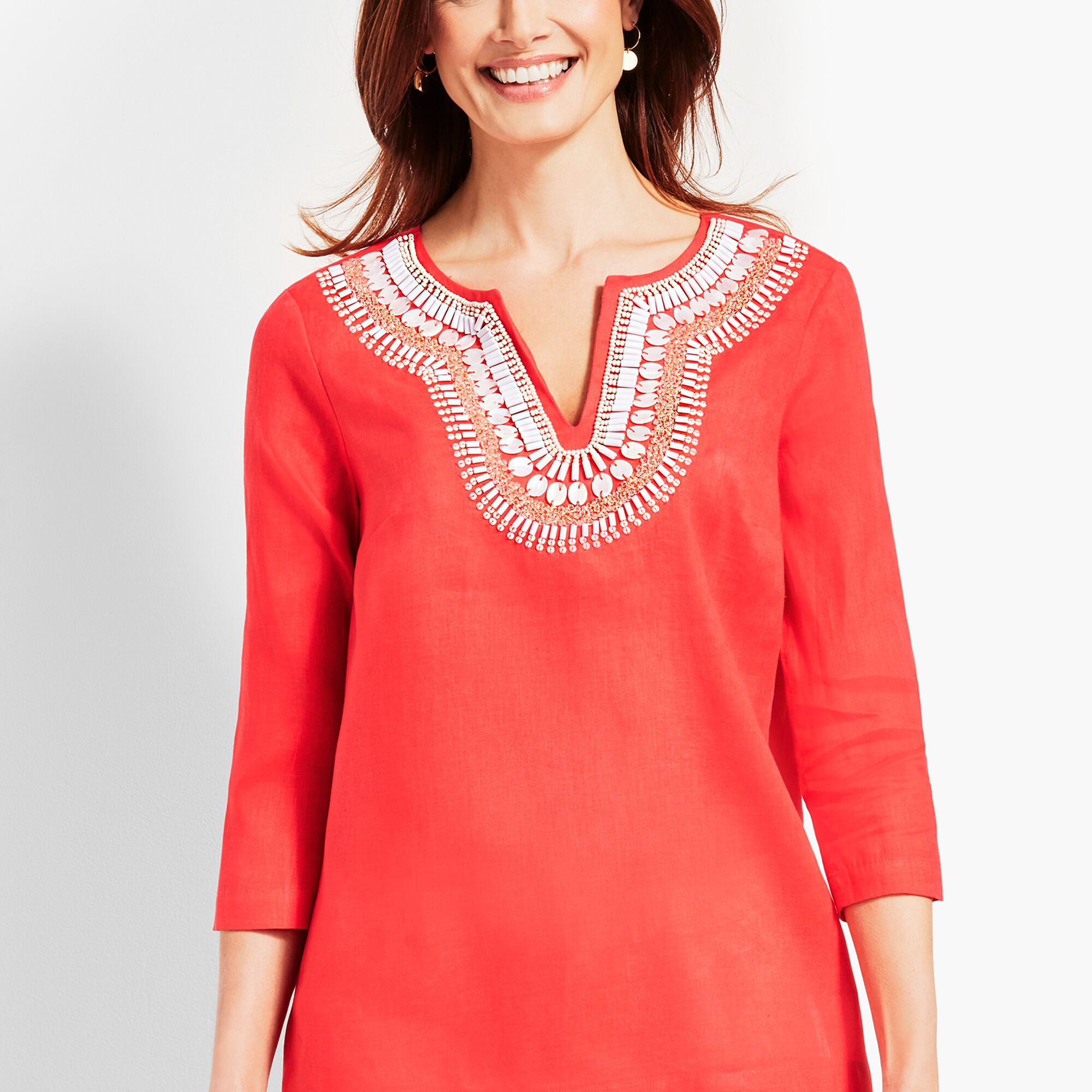 77e4dcce388 Shell-Embellished Linen Tunic Top Opens a New Window.