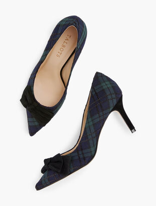 Erica Bow Pumps - Black Watch Plaid