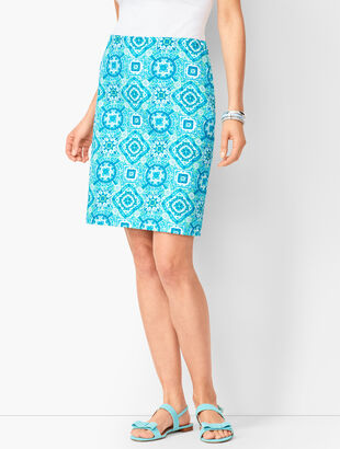 Canvas Cotton A-Line Skirt - Medallions