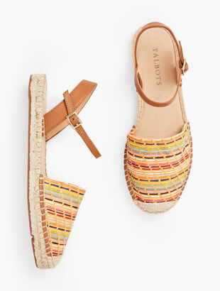 Izzy D'Orsay Espadrille Flats - Straw