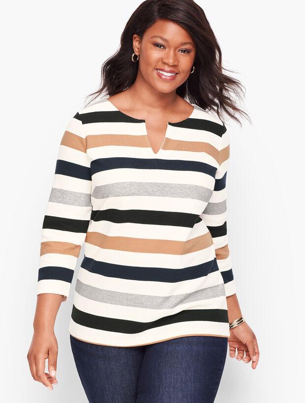 Textured Zip-Back Top - Stripe