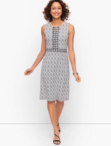 Split Neck Jersey Sheath Dress