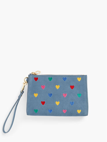 Embroidered Hearts Wristlet