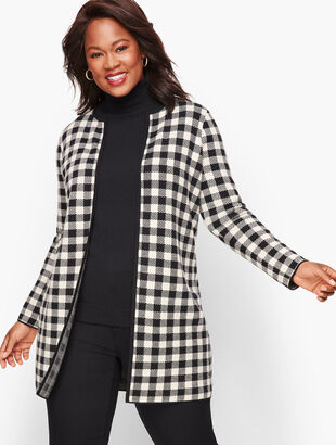Buffalo Plaid Sweater Jacket
