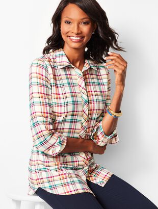 Poppy Plaid Classic Cotton Shirt