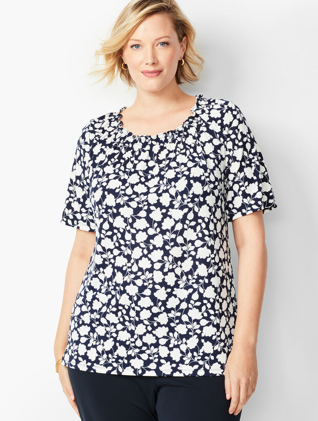 Plus Size Knit Jersey Gathered-Neck Top - Floral