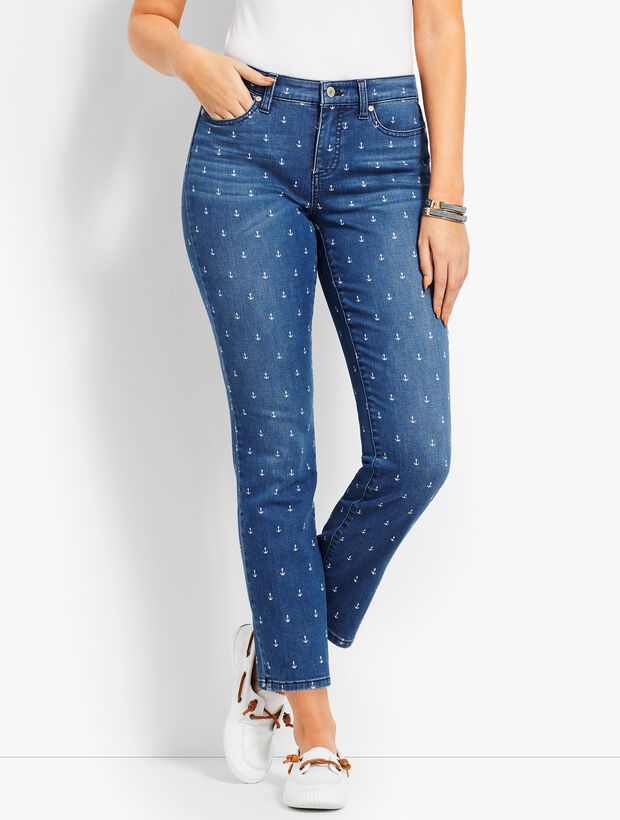 Denim Slim Ankle - CurvyFit/Anchor Print