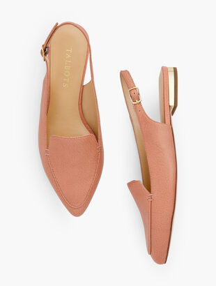 Poppy Pointed Toe Slingbacks - Pebbled Leather