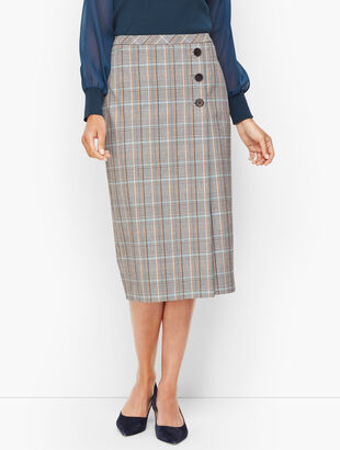 Macintosh Plaid Faux Wrap Pencil Skirt