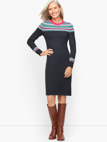 Holiday Fair Isle Sweater Dress