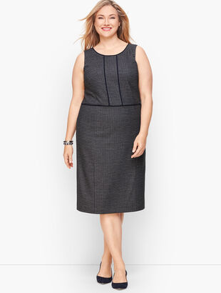 Stretch HoundstoothTweed Sheath Dress