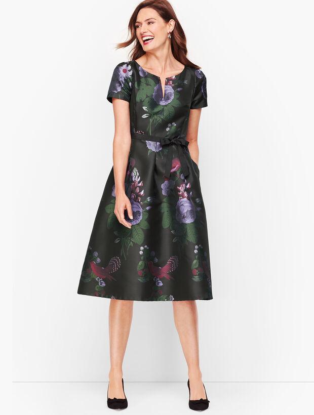 Belted Split Neck Fit & Flare Dress