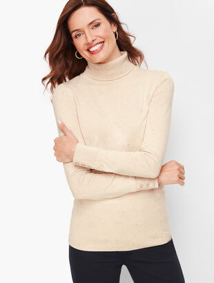 Button Cuff Turtleneck Sweater - Donegal