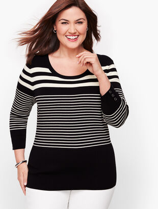 Button Cuff Sweater - Top Stripe