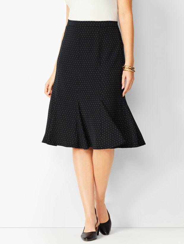 Pleated Dot Midi Skirt