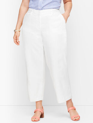 Linen Straight Leg  Crop - Lined