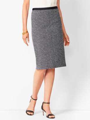 Grosgrain-Trim Tweed Pencil Skirt