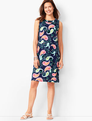 Pleat-Neck Shift Dress - Paisley