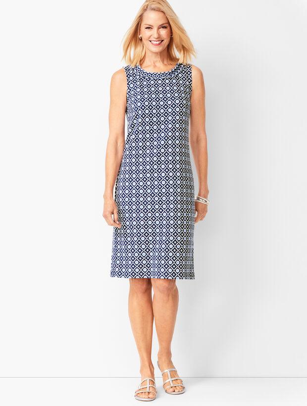 Cotton-Knit Shift Dress - Floral