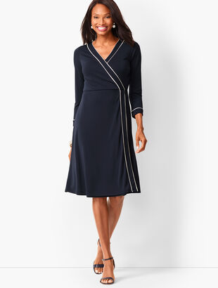 Knit Jersey Faux-Wrap Dress
