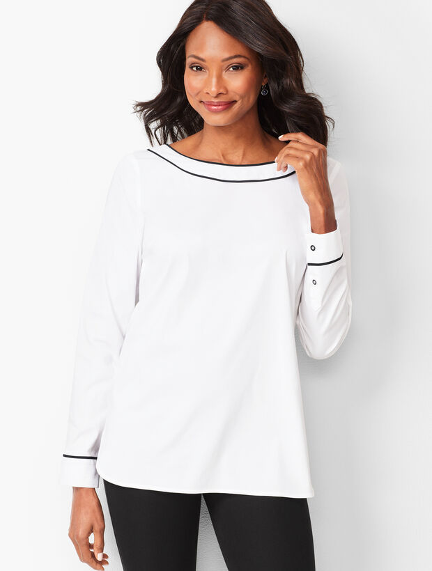Piped Poplin Tunic - Solid