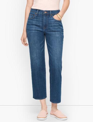 Straight Leg Crop Jeans - Meridian Wash