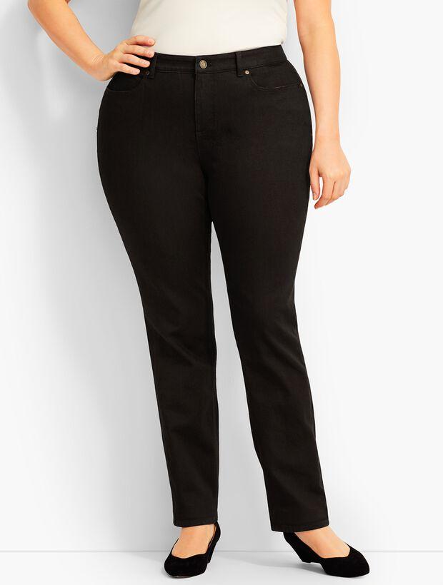 Plus Size Exclusive Comfort Stretch Denim Straight-Leg Jeans -Curvy Fit/Black