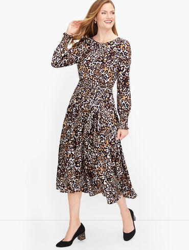 Tie Waist Leopard Midi Dress